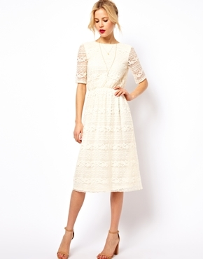 Asos Midi Dress In Lace With Wrap Back - Cream