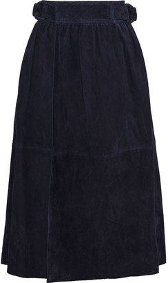 Joseph Betty Gathered Suede Midi Wrap Skirt