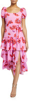 LIKELY Lottie Floral Puff-Sleeve Tiered Ruffle Dress