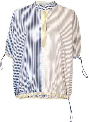 Silvia Tcherassi Colour-Block Striped Cotton Blouse