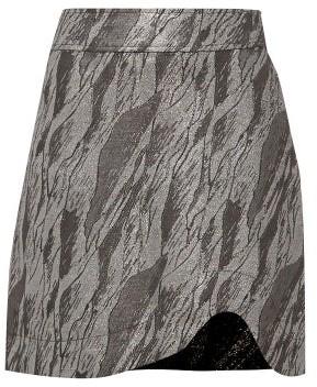 Ganni High-rise Curved-hem Jacquard Mini Skirt - Silver