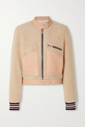 The Mighty Company The Rugby Leather-trimmed Faux Shearling Biker Jacket - Beige