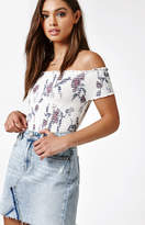 KENDALL + KYLIE Kendall & Kylie Smocked Off-The-Shoulder Crop Top