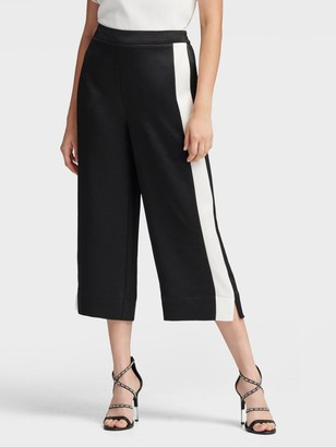 DKNY Cropped Wide-leg Pant With Tuxedo Stripe