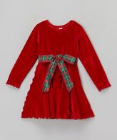 Mulberribush Red Velour Panel Dress & Belt - Infant Toddler & Girls