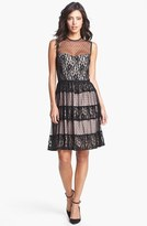 Maggy London Mixed Lace Fit & Flare Dress