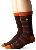 Timberland Men's 2 Pack Multi Stripe Cotton Crew Sock