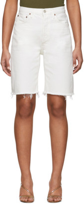 AGOLDE White 90s Mid-Rise Loose Jean Shorts