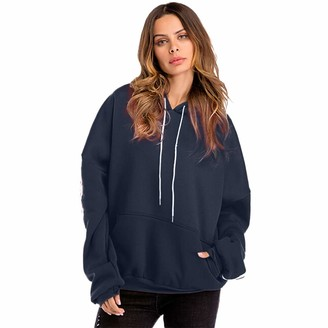 NPRADLA Women Fashion Plus Size Casual Color Block Hooded Appliques Blouse Loose Striped Solid Long Sleeve Sweatshirt Blue