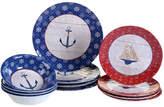 Certified International Nautique Heavy Weight Melamine 12 Piece Dinnerware Set, Service for 4