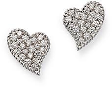 Roberto Coin 18K White Gold Princess Treasure Diamond Heart Stud Earrings