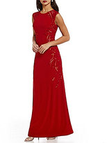 Adrianna Papell Sequin Beaded-Side Cap Sleeve Gown