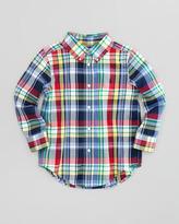Ralph Lauren Blake Long-Sleeve Plaid-Twill Shirt, Yellow Multi, Sizes 2-3