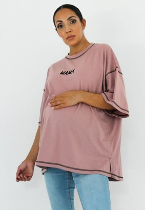 Missguided Mama Embroidered Maternity T Shirt