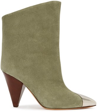 Isabel Marant Lapee 100 taupe suede ankle boots