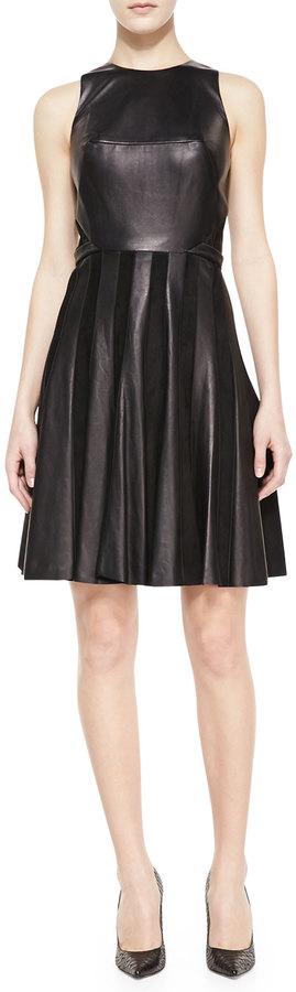 Jason Wu Combo Leather & Suede Paneled Dress