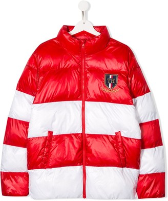 Tommy Hilfiger Junior TEEN two-tone panelled down jacket