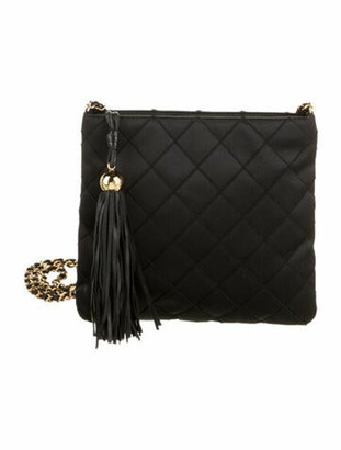 Chanel Vintage Satin Crossbody Bag Black