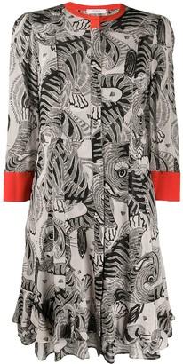 Schumacher Dorothee animal pattern ruffle tier shirt style dress
