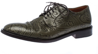 Etro Green Embossed Leather Paisley Lace Up Derby Size 40