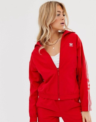 adidas Locked Up logo track jacket in red