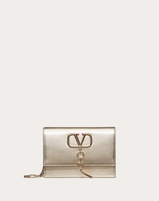 Valentino Small Vcase Metallic Nappa Leather Bag Women Platinum 100% Lambskin OneSize