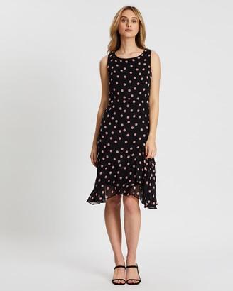 Wallis Spot Tiered Hem Dress