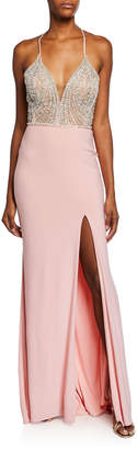 Faviana V-Neck Beaded Bodice Sleeveless Gown w/ Thigh-Slit & Lace-Up Back
