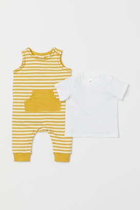 H&M 2-piece Cotton Jersey Set - Yellow