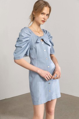 J.ING Pauline Powder Blue Bow Mini Dress