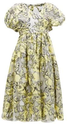 Cecilie Bahnsen Ammi Wrap-front Floral Fil-coupe Dress - Womens - White Multi