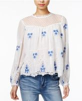 Endless Rose Embroidered Crochet-Lace Top