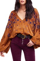 Free People Women's Music In Time Embroidered Top