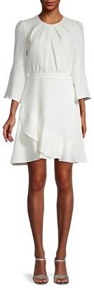 Diane von Furstenberg Rosina Chiffon Mini Ruched Ruffle A-Line Dress