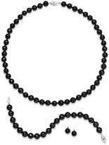 Black Diamond Sterling Silver Jewelry Set, Faceted Onyx (260 ct. t.w.) and Accent Earrings, Necklace and Bracelet Web ID: 676714