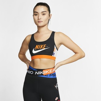 Nike Women's Medium-Support 1-Piece Pad Graphic Sports Bra Swoosh Icon Clash