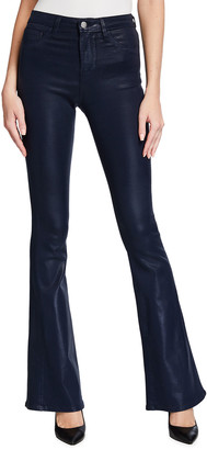 L'Agence Bell Coated High-Rise Flare Jeans