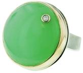 Jamie Joseph Round Green Quartz Ring with Diamond