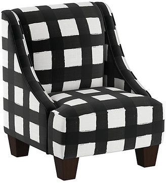 One Kings Lane Fletcher Kids' Accent Chair - White/Black Linen