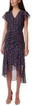 Sam Edelman Ditsy-Print Ruched Midi Dress