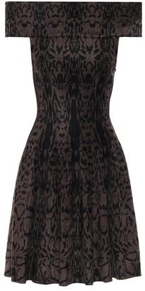 Alaia Off-the-shoulder jacquard knit dress