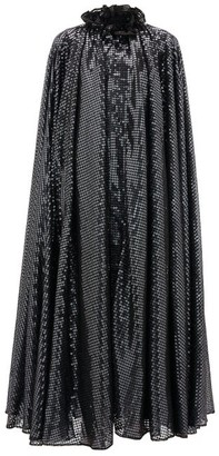 Halpern Ruffled-neck Sequin-embellished Cape - Grey