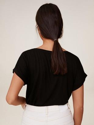 MANGO Jersey Basic V Neck Tee - Black