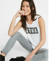 Express one eleven love lace print graphic muscle tank