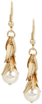 INC International Concepts M. Haskell for Imitation Pearl and Shaky Leaf Drop Earrings, Only at Macy's