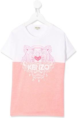 Kenzo Kids two-tone tiger logo T-shirt