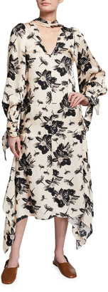 Mother of Pearl V-Neck Floral-Print Satin Dress with Tie Cuffs