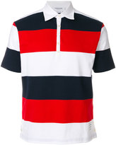 Thom Browne Short Sleeve Polo With 4-Bar Stripe In Blue And Red Rugby Stripe