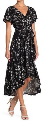 WEST KEI Floral High/Low Hem Midi Dress