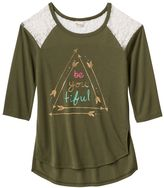 Mudd Girls 7-16 & Plus Size Raglan Lace High-Low Graphic Tee